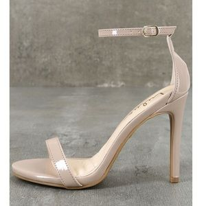 Nude patent leather ankle strap heels